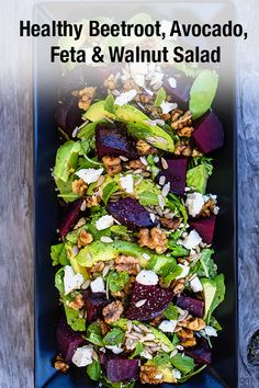 Beetroot, Avocado & Quinoa Salad with Feta, Spiced Walnuts & Mint. A colourful, healthy and delicious beetroot salad that is perfect for any occasion. Summer Salad Recipes, Healthy Salad Recipes, Salad Recipes For Dinner, Raw Food Recipes, Cooking Recipes, Beetroot Recipes Salad, Beetroot And Feta Salad, Beetroot Ideas, Superfood Recipes