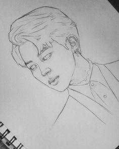Kpop Drawings, Art Drawings Sketches Simple, Pencil Art Drawings, Drawing Drawing, Easy Portrait Drawing, Easy Love Drawings, Cool Sketches, Jimin Fanart, Kpop Fanart