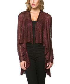 Look at this #zulilyfind! Burgundy Sequin Open Cardigan by High Secret #zulilyfinds