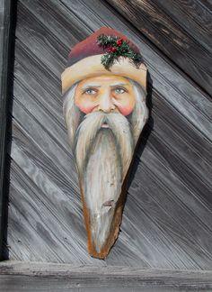 Primitive Folk Art Santa made from Rustic Walnut Wood
