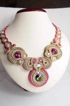 Fuchsia Silver Light EmeraldCream soutache by SoftAmethyst