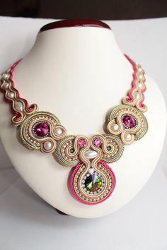 Fuchsia, Silver, Light  Emerald,Cream soutache necklace.