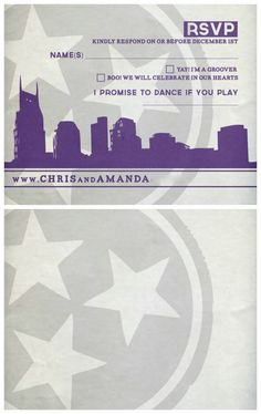 Wedding RSVP card with purple, gray and white colors and image of the Nashville skyline