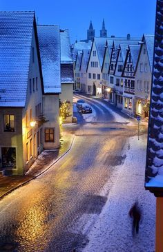 A snowy night in Rothenburg, Germany.