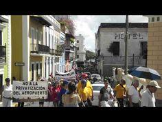 Parte de la Caminata en Defensa del aeropuerto internacional Luis Muñoz Marín en el Viejo San Juan el 17 de febrero de 2013. Video por Arlene Morales.