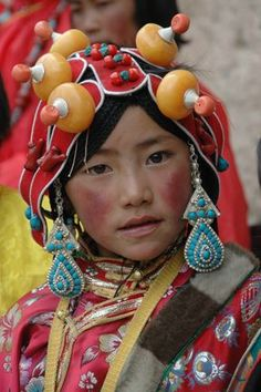 Tibetan girl in traditional costume