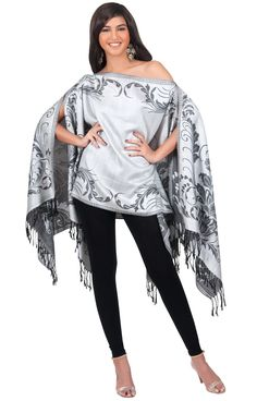CHERYL - Pashmina Poncho Stylish Batwing Blouse Kimono