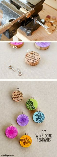 DIY Cork Screw Pendants - These would be so special for a get together