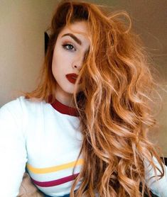 Fiery red hair looks divine with red lipstick #copperhair #redhair