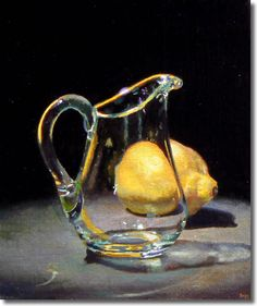 Jeff Hayes oil painting. I love how the glass refracts the shape of the lemon.