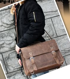 Distressed Leather Messenger Bag Leather Satchel