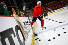 Patrick Kane hits the ice at the Honda Center for Monday's practice. #Blackhawks