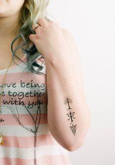 Temporal de Tolkien 3 tatuajes  GeekTat por GeekTat en Etsy                                                                                                                                                                                 Más Tattoos Bein, Army Tattoos, Military Tattoos, Funny Tattoos, Ring Tattoos, Top Tattoos, Hip Tattoo Designs, Lion Tattoo Design, Angel Tattoo Designs
