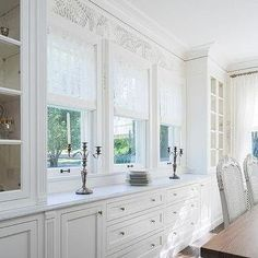 Dining Room Built In Cabinet Painted BM White Dove And Lincoln Gold Vein Marble Countertop