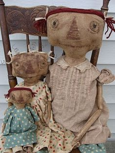 Prims - Three Raggedy Ann Primitive Dolls - <3