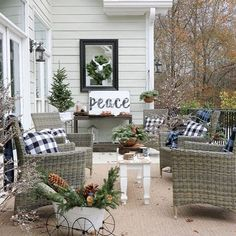 Holiday Decor Inspiration for your patio - Duke Manor Farm Outdoor Decorative Lights, Manor Farm, Back Patio, Outdoor Christmas Decorations, Porch Decorating, Holiday Decorating, Holiday Lights, Outdoor Living, Outdoor Fire