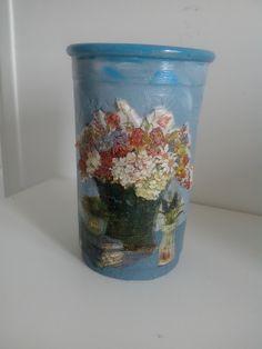 """Vase en terre cuite """"Bouquet"""" tons gris bleuté style vintage : Accessoires de maison par creatoutmain"""