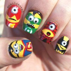 superhero minions by nailstorm1 #nail #nails #nailart
