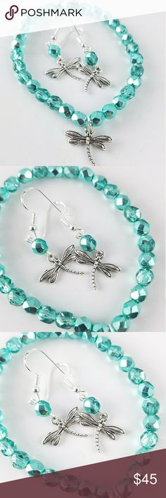 Dragonfly Czech Glass Bracelet & Earring Set Stunning fire etched Czech glass beads strung on thick stretch cord for durability. With a small silver plated dragonfly charm. Comes with matching earrings. Hooks are .925 Sterling Silver.   High quality materials. Two bracelet sizes available.  Only one set per size available.   Magen's Fairytale Creations original handmade by me. Magen's Fairytale Creations Jewelry Bracelets