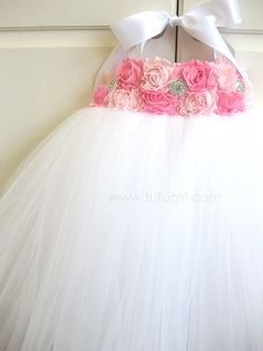 Pink White Tutu Dress Flower Girl by TutuGirl on Etsy, $89.99