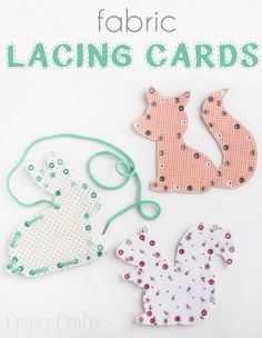 Cute FABRIC lacing cards! This reminds me of something I had as a child. I'd take yarn and a plastic sewing needle and pretend I was sewing. These would be great for kids!!