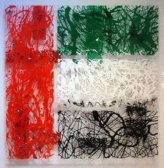 Original Pollock inspired drip painting by Seb Farrington. Red, black, white and green enamel art paying homage to the flag of the UAE. Flag Painting, Drip Painting, Flag Colors, Colours, Uae National Day, Drip Art, Manga Anime Girl, Flag Art, Game Art