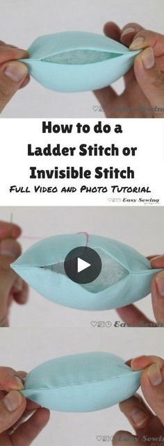 How to do a ladder stitch or invisible stitch step by step video and photo tutorial. How to do a ladder stitch or invisible stitch step by step video and photo tutorial. Sewing Hacks, Sewing Tutorials, Sewing Crafts, Sewing Tips, Sewing Basics, Diy Sewing Projects, Crafts To Sew, Sewing Machine Projects, Basic Sewing