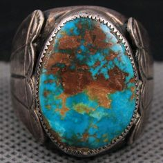 Red Coral & Blue Turquoise Ring Rustic Sz either from handling, age, light use, poor storage, previous owners cleaning and polishing. Turquoise Rings, Vintage Turquoise, Turquoise Gemstone, Diy Jewelry Unique, Vintage Jewelry, Handmade Jewelry, Southwest Jewelry, Southwest Style, Diy Schmuck