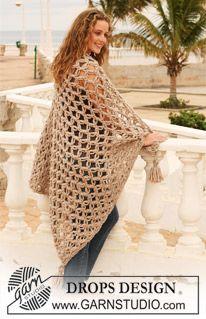 "Crochet DROPS blanket with love knots in 2 threads ""Eskimo"". ~ DROPS Design"