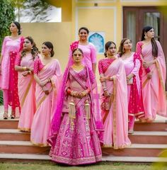 Bride And Bridesmaid Pictures, Indian Bridesmaid Dresses, Bridesmaid Saree, Bridesmaid Outfit, Indian Wedding Outfits, Brides And Bridesmaids, Bridal Outfits, Indian Outfits, Indian Wedding Bridesmaids