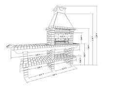 Схема кирпичного барбекю Brick Bbq, Smoke Bbq, Outdoor Kitchen Design, Barbacoa, Dream Garden, Cement, Floor Plans, Diagram, Backyard