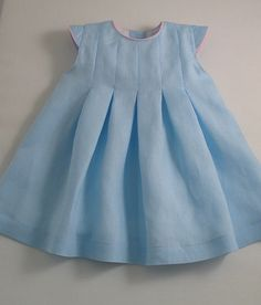 Ice Blue Linen Pleated Dress