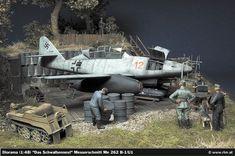 """""""Swallow's nest"""" 1/48 scale. By Christian Jakl. Messerschmitt Me262 B-1/U1 """"Nachtjäger"""". TAMIYA Me262 A-1a remodeled. German WW2 jet fighter. #diorama #Luftwaffe"""
