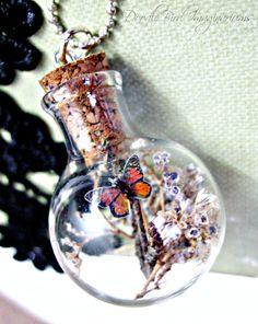 Mini Terrarium Butterfly Specimen Bubble Necklace