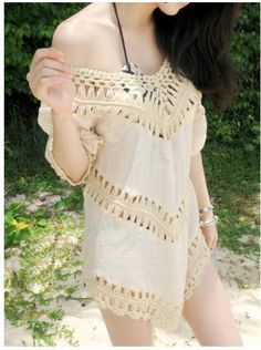 V-neck 3/4 Sleeves Hollow Bohemian Lace Chiffon Blouse