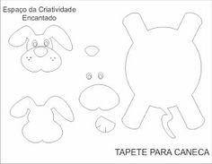molde do tapetinho tipo Pluto Dog Crafts, Felt Crafts, Fabric Crafts, Sewing Crafts, Sewing Projects, Felt Patterns, Sewing Patterns, Felt Coasters, Animal Mugs