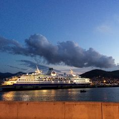 Our last port day in #Bilbao #Spain. The #mvexplorer looks #beautiful at #dusk with those #lights calling us #homesweethome. This #port has perfect #views! #sassu14 #semesteratsea #shiplife