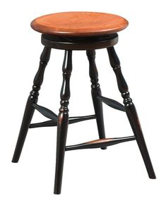 Amish Backless Wooden Bar Stool with Swivel