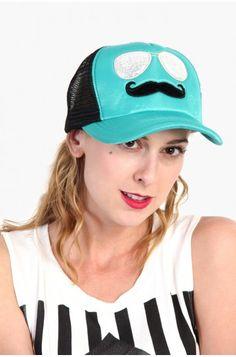 LoveMelrose.com From Harry & Molly | Mustache Glasses Trucker Hat - Mint