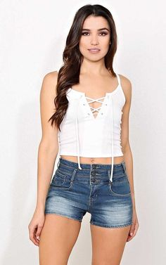 #FashionVault #styles for less #Women #Tops - Check this : Captivated Rib Knit Laceup Tank - SML - Ivry/Natrl in Size Small by Styles For Less for $14.99 USD