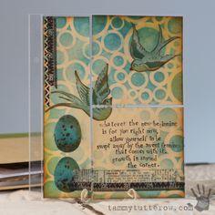 Art Journal Pocket Page by Tammy Tutterow using StencilGirl Stencils.
