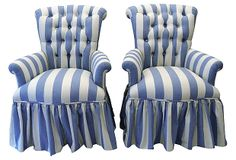 A Pair of Blue & White Button-Tufted Chairs