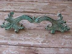 2 Vintage Drawer Pulls Cast Iron Custom by TheTurquoiseCottage