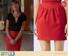 Rachel's red skirt on Glee. Outfit Details: http://wornontv.net/28905 #Glee #fashion