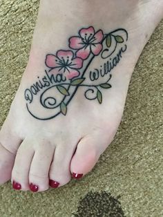 My infinity foot tattoo with my kids' names done by ShaknInk Tatz