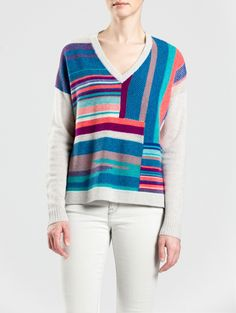 Patchwork V Neck by White + Warren
