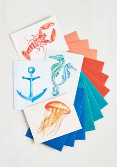 Sea My Guest Notecard Set. Your guests will be in an ocean of delight after receiving invites on these paper notecards. #multi #modcloth