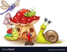 Cartoon happy small animals vector image on VectorStock Mushroom Crafts, Mushroom Art, Cartoon Drawings, Easy Drawings, Drawing For Kids, Art For Kids, Soft Board Decoration, Foam Crafts, Paper Crafts