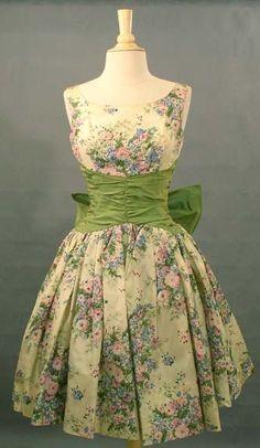 Floral taffeta cocktail dress ~ 1950's