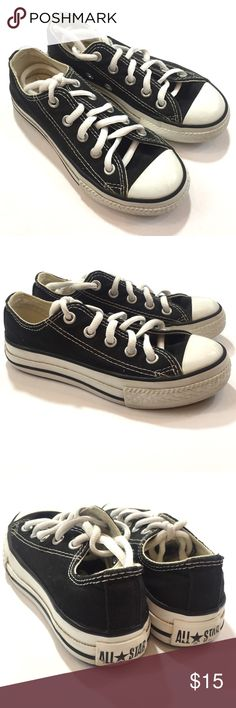 All Star Chuck Taylor CONVERSE shoes - size 11 Girls black and white Chuck Taylors All Star low top shoes by Converse. Size 11. Pre-loved but as evident from the pictures, there is plenty of life left. Converse Shoes Sneakers